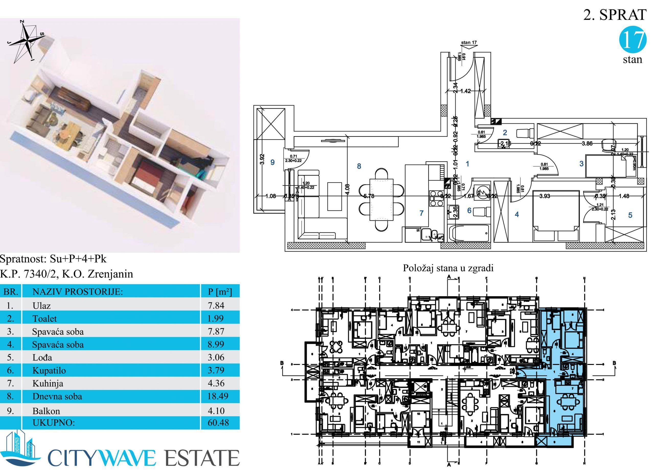 Stan 17 površine 60,48m2