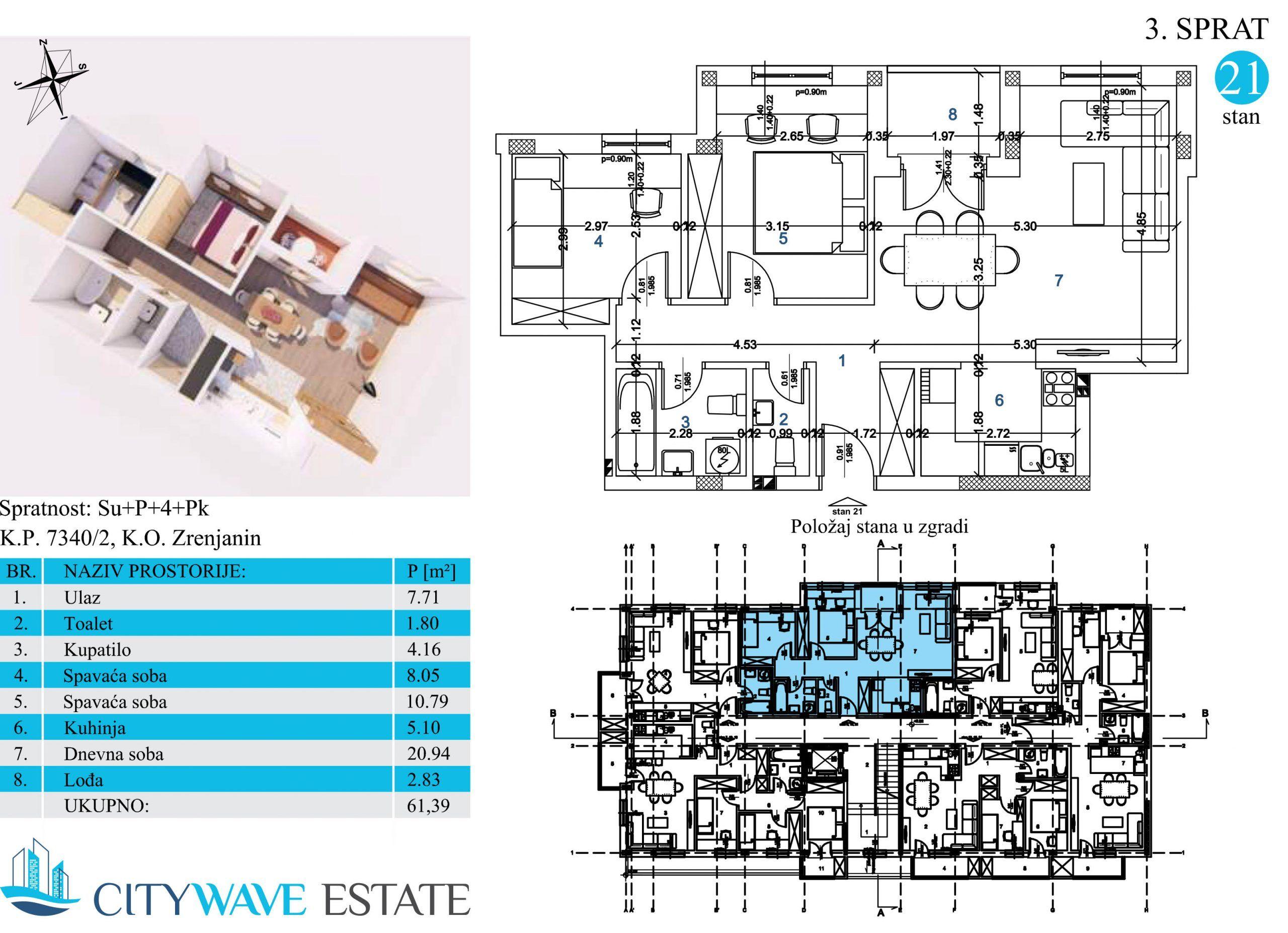 Stan 21 površine 61,39m2